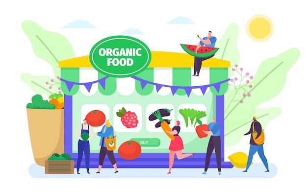 Compre alimentos orgánicos en línea, pequeñas personas de dibujos animados que compren verduras o frutas productos agrícolas agrícolas en blanco