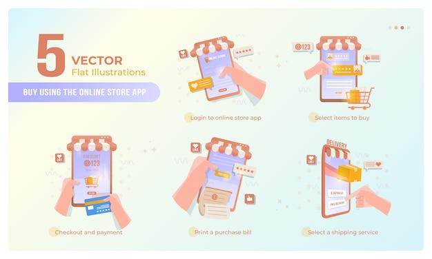 Compre artículos usando la aplicación móvil de la tienda en línea en el conjunto de colección
