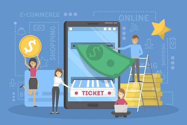 Compre el boleto en línea utilizando el concepto de teléfono móvil. comercio por internet y tecnología moderna. servicio online en la aplicación. ilustración
