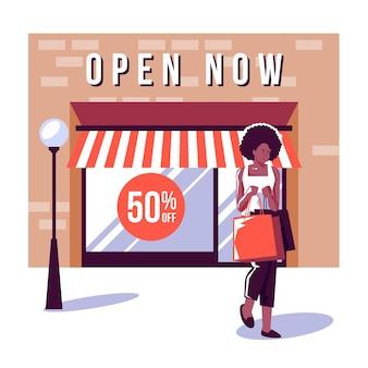 Compre con el cartel abierto