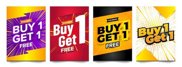 Compre una colección de conjunto de diseño de banner vertical gratis