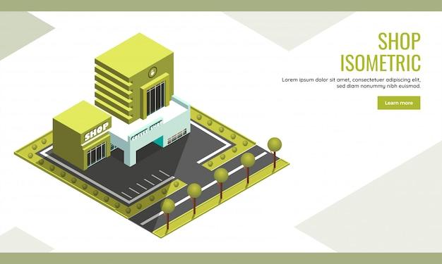 Compre el diseño de la página de aterrizaje basado en el concepto con la ilustración isométrica del centro de café y el edificio de la tienda en el fondo verde del jardín.