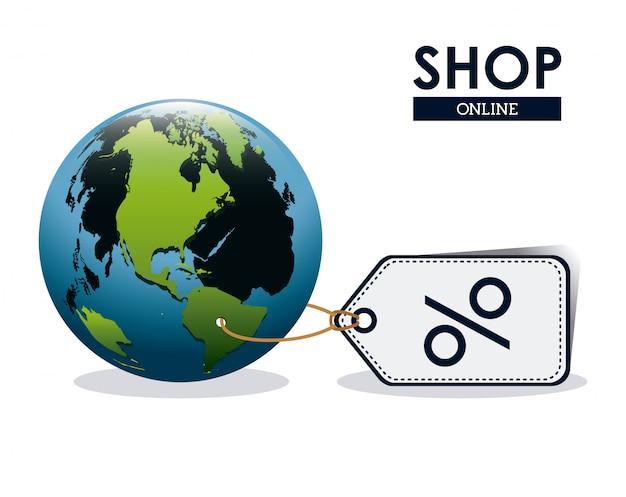 Compre en línea concepto, globo terráqueo con etiqueta de precio