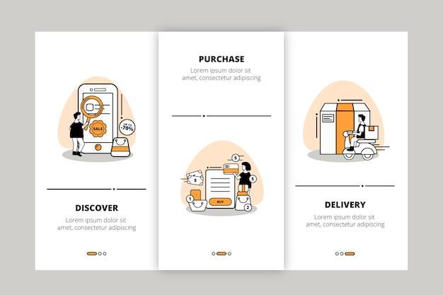 Compre en línea el paquete de pantallas de la aplicación de incorporación