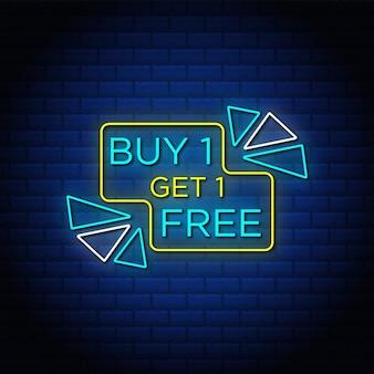 Compre uno y llévese otro banner de venta gratis en estilo neón.