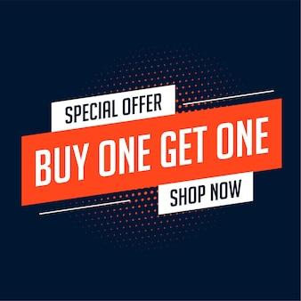 Compre uno y obtenga un diseño de banner de venta