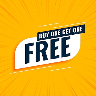 Compre uno y obtenga uno gratis banner amarillo de venta
