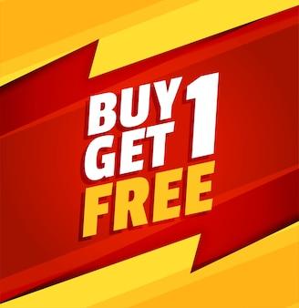 Compre uno y obtenga uno gratis banner de venta rojo y amarillo