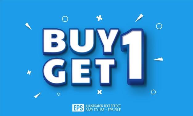 Compre uno obtenga letras con efecto de estilo editable de fondo azul