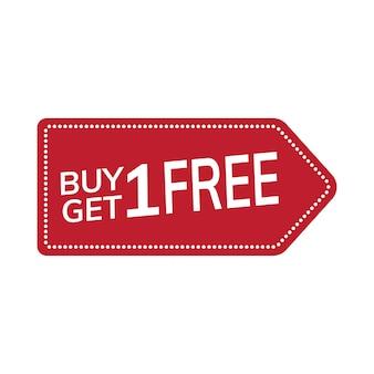 Compre uno y obtenga un vector de etiqueta promocional gratis