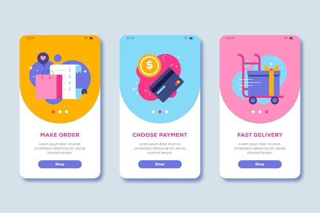 Compre el tema de pantalla de la aplicación de incorporación en línea
