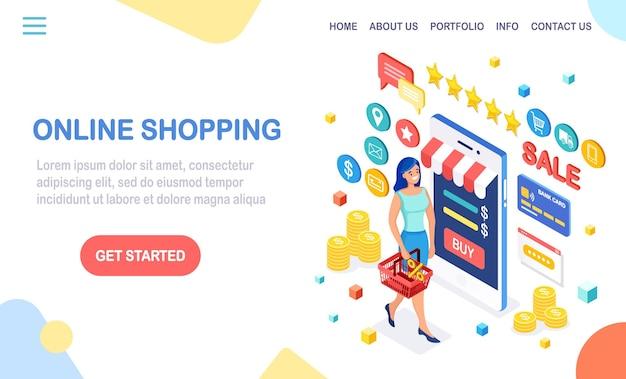 Compre en la tienda minorista mediante la página de destino de internet