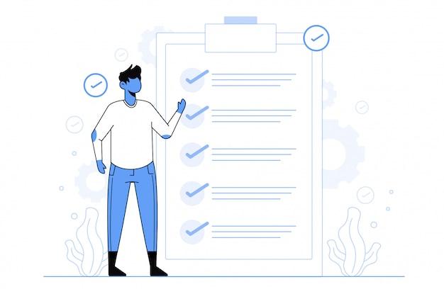 Comprobación de ilustración de concepto de éxito de tarea para plantilla de página de destino