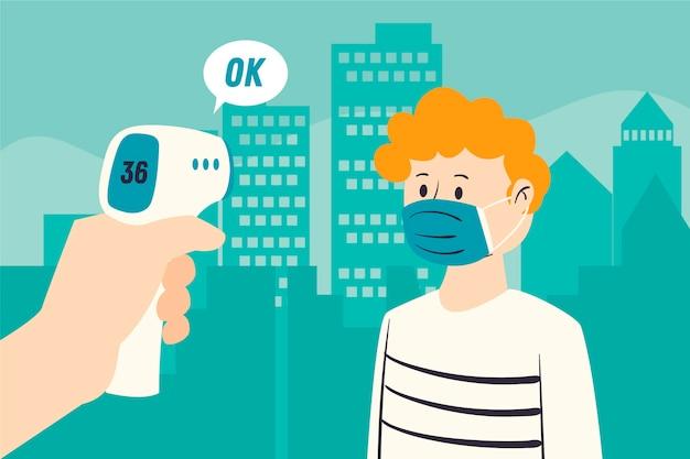 Comprobación de la temperatura corporal en áreas públicas