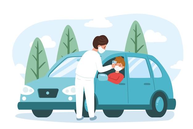 Comprobación de la temperatura corporal en carretera en el vehículo