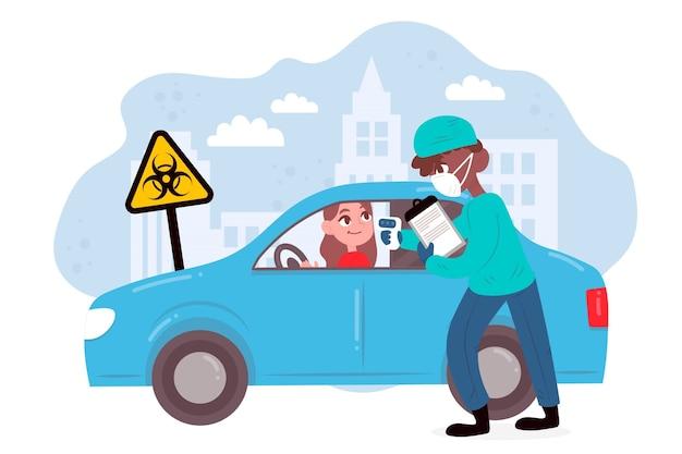 Comprobación de la temperatura corporal en carretera