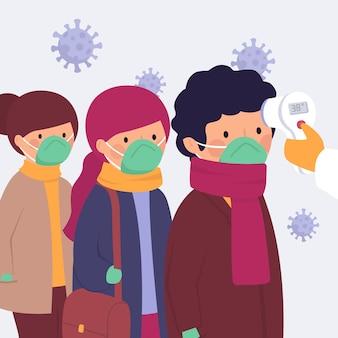 Comprobación de la temperatura corporal de las personas que esperan en la cola
