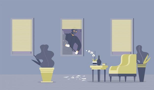 Compromiso de delincuencia, housebreak ilustración plana.