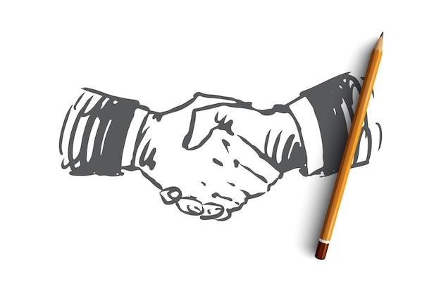 Compromiso, mano, trato, negocio, concepto de asociación. boceto de concepto de temblor de mano dibujado a mano.