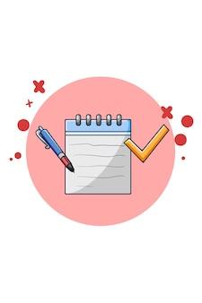 Compruebe la ilustración de dibujos animados de icono de nota y bolígrafo