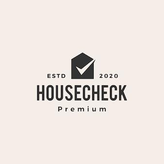 Compruebe la ilustración del icono del logotipo del vintage de la casa