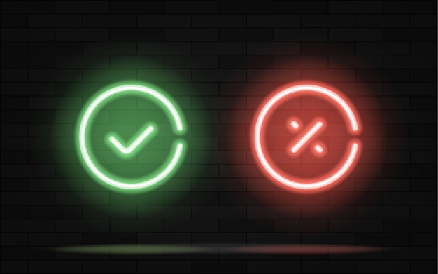 Compruebe la luz de neón del símbolo de la línea de la marca en fondo del ladrillo negro.