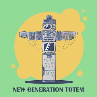 Compuesto totem de nueva generación de diferentes gadgets.