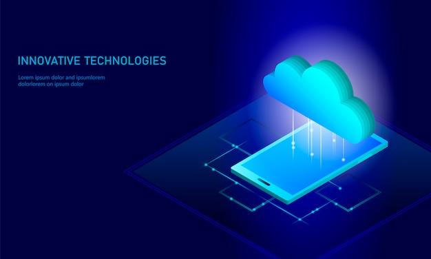 Computación en la nube, almacenamiento en línea, teléfono inteligente isométrico, fondo de información de big data.