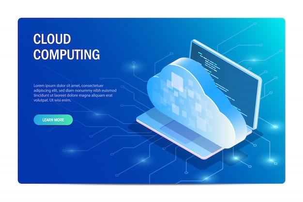 Computación en la nube. portátil en el fondo del chip con acceso a la base de datos