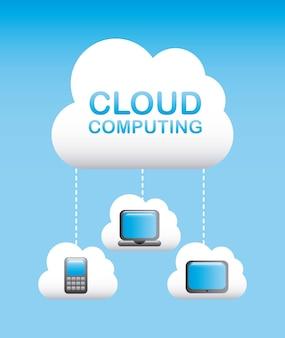 Computación en la nube sobre ilustración de vectores de fondo azul