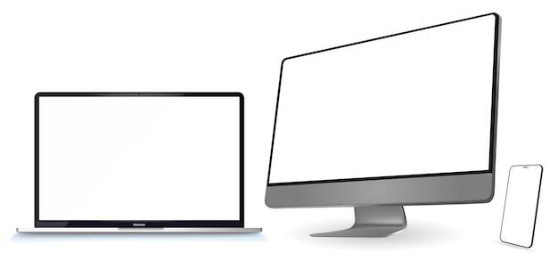 Computadora aislada en blanco