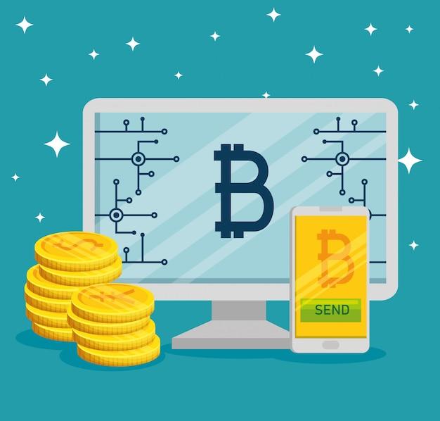 Computadora bitcoin moneda y teléfono inteligente
