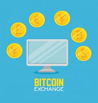 Computadora con cambio de moneda bitcoin