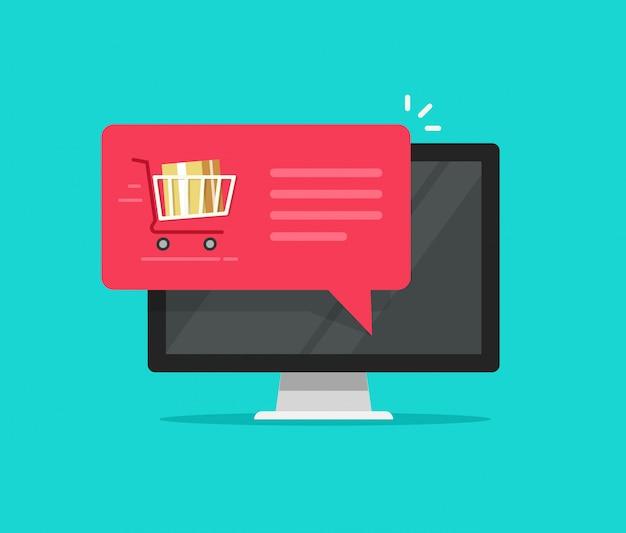 Computadora con carrito de compras notificación de burbujas de discurso o pedido en línea vector plano icono de dibujos animados