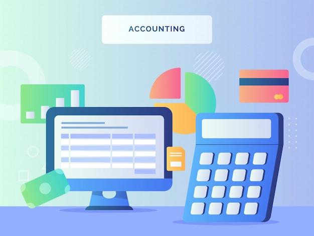 Computadora cerca calculadora del concepto de contabilidad bancaria de tarjeta de gráfico circular de dinero con estilo plano.