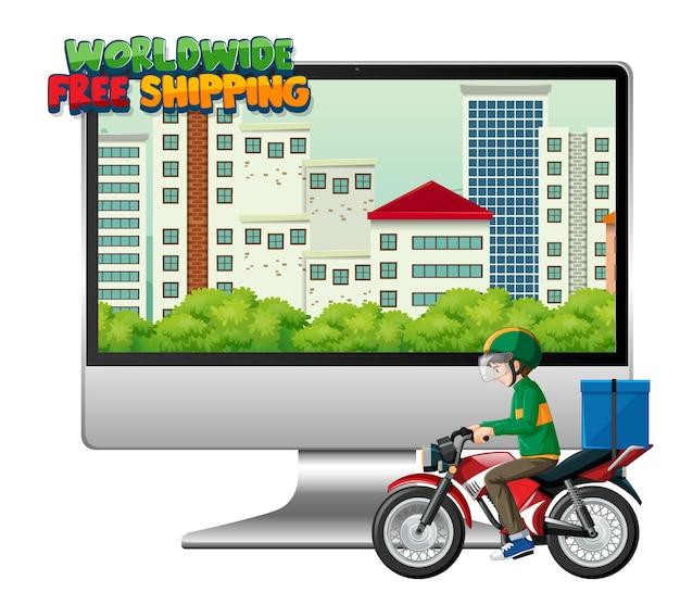 Computadora con ciclista o mensajero y logotipo de envío gratuito en todo el mundo