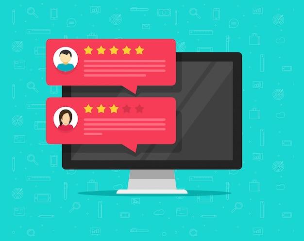 Computadora y cliente revisan mensajes de calificación o retroalimentación vector de dibujos animados plana