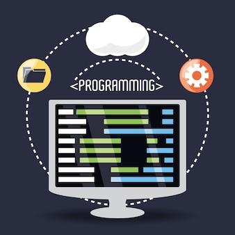 Computadora con codificación de programación en pantalla
