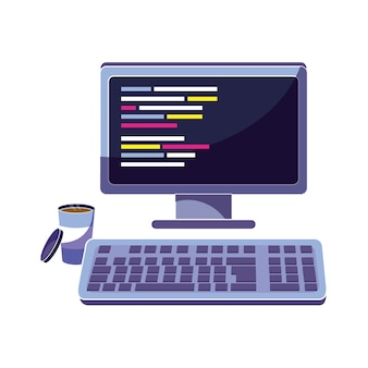 Computadora con código de programación y café caliente
