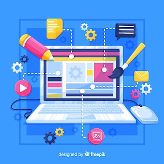 Computadora colorida infografía