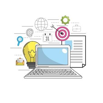 Computadora para comercializar iconos de negocios y tecnología