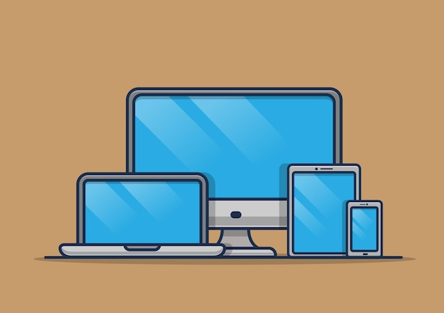 Computadora, computadora portátil, tableta, teléfono inteligente, ilustración del concepto de dispositivo