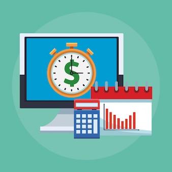 Computadora de aplicaciones móviles de negocios con calendario