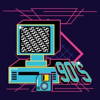 Computadora y disquete de noventa retro