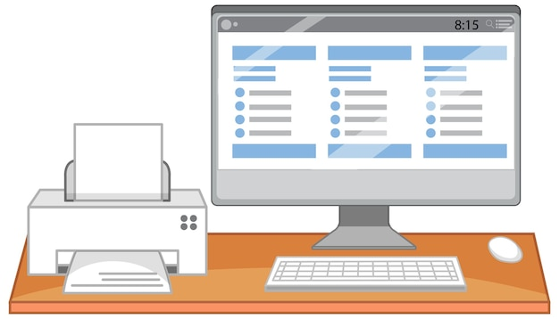 Computadora e impresora en el escritorio de oficina sobre fondo blanco.