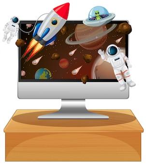Computadora con escena espacial