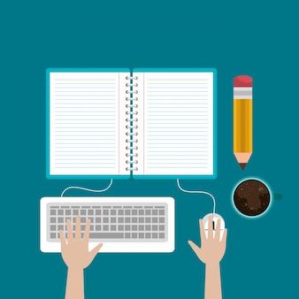 Computadora de escritorio con fácil e-learning