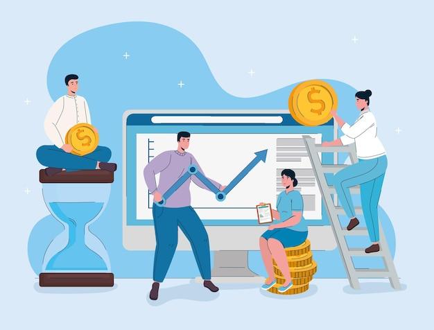Computadora de escritorio con hombre levantando estadísticas flecha y gente de negocios