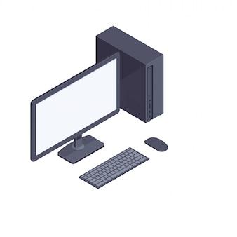 Computadora de escritorio isométrica negra aislada sobre fondo blanco.