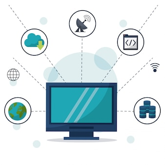 Computadora de escritorio en primer plano y conexiones de red y aplicaciones